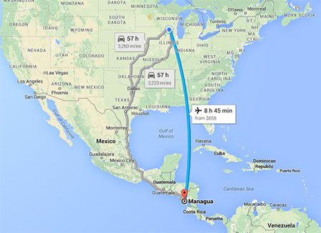 A google map showing flight line and time from Madison to Managua, 8 hours and 45 minutes, versus two 57 hour driving options